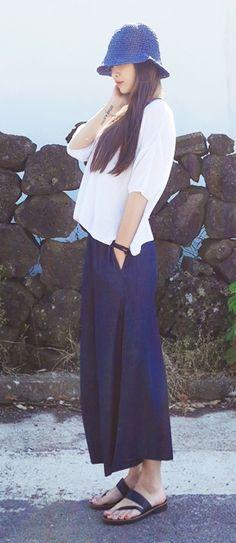 V Neck Knit Tee - Wide Denim Pants - Sandals - Korean Fashion - Korean Style - Sibuya