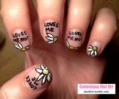 Love me love me not fake nails by CompulsiveNails on Etsy, $25.00