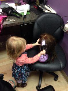 Kyra plays salon at the salon