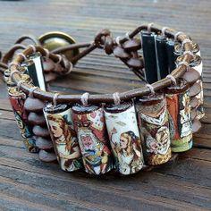 Alice in Wonderland Cuff Bracelet  Brown by ElectricPenguin, $25.00
