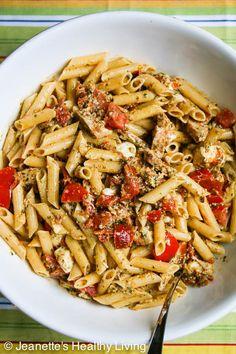 Pasta with Pesto, Fresh Tomatoes, Sun-Dried Tomatoes, Chicken and Mozzarella Cheese