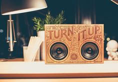 The Wooden Boombox is a portable music player built into a custom-designed and laser engraved wooden case.