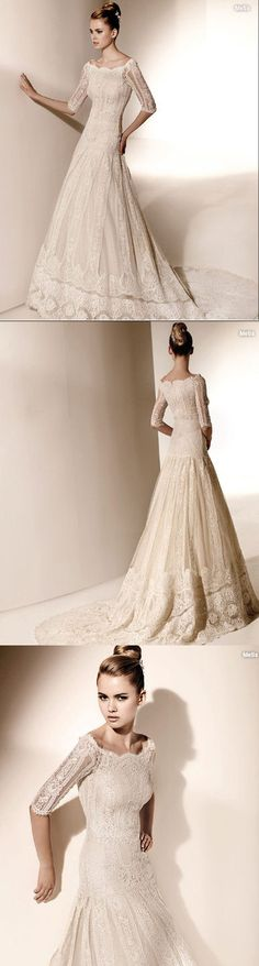 3/4 sleeve, lace wedding dress. dream wedding dress. perfect for the temple!