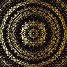 Or Mandala Sur Fond Noir. Modèle Indien. Clip Art Libres De Droits , Vecteurs Et Illustration. Image 43251767.