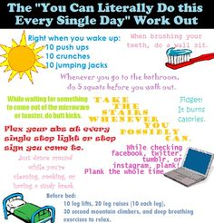 shrinkingwhitetiger:    these little things add up!    i love this! and i am totally a person who does counter push ups in the kitchen and butt kicks while i'm waiting in line or standing somewhere. dorky but gettin fit ;)