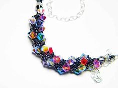 Whimsy Beading Swarovski crystal necklace. I love the bright colors mixed in with the Hematite beads. Stunning! $35.00 on Etsy!