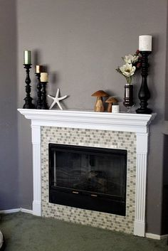 Fireplace Remodel with prefab mantle and pilaster kit