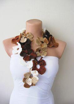 Hand Crochet Fall Autumn Caramel Chocolate Brown by fairstore, $25.00