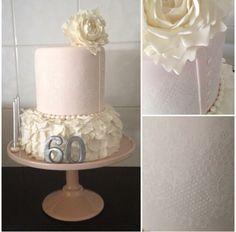 60th Birthday Fondant Stencil Ruffle Flower Cake
