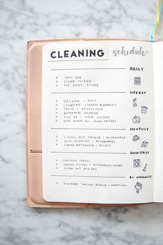 Cleaning Schedule Layout BUJO Page | ETSY Spring Bullet Journal Ideas & Accessories | Miss Louie