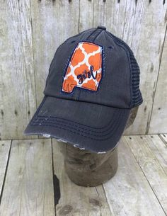 d64bf9c350df Alabama State   City of Auburn   Girl   Embroidered Orange and White Raggy  Patch Distressed Dark Gre. Alabama HatsAuburn UniversityVelcro ...