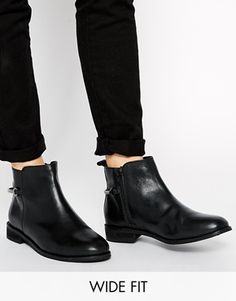ASOS A BETTER PLACE Wide Fit Leather Ankle Boots