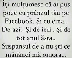 Facebook-nu stiu ce mananci-mor Sarcastic Humor, Texts, Qoutes, Facebook, Sayings, Funny, Perspective, Cover, Frases