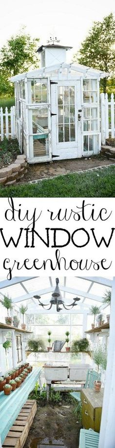 DIY rustic window greenhouse - Take the full tour of this hand built greenhouse made out of antique windows inside & out! by Wigsbuy-reviews