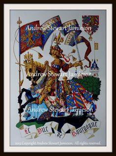 Heraldic Knights ( heraldic art, heraldic artist, heraldic painter, custom coats of arms, Heraldry, Heraldic paintings ) hand painted by Andrew Stewart Jamieson