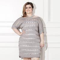 Plus Size – Vestido Prata – Linha Círculo Encanto