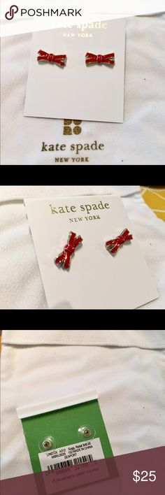 Kate Spade red bow earrings studs Beautiful Kate spade red bow earrings studs. Brand new never worn. NWT. Comes with jewelry pouch. Simple and elegant, great for all occasions kate spade Jewelry Earrings