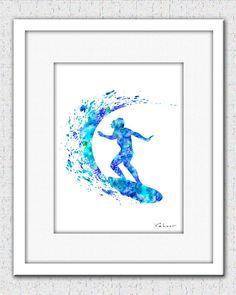Surfer art print surfer print surfer silhouette by FluidDiamondArt