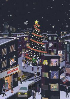 Christmas Tree Night Cities 18 Ideas For 2019 Real Christmas Tree, Christmas Night, Christmas Art, Tree Branch Tattoo, Oak Tree Tattoo, Illustration Noel, Christmas Illustration, Wallpaper Iphone Cute, Cute Wallpapers