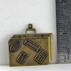 Vintage Decorative  Brass Suitcase Charm by oscarcrow on Etsy