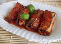 INVOLTINI DI MELANZANE CON TOFU  Ingredienti:  (per 3-4 persone)  1 kg di melanzane grandi e lunghe  1 panetto di tofu da 180 g  basilico...