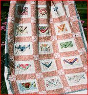 Love Letters quilt using handkerchief
