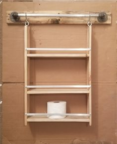 Made from pallet wood and scrap metal Pallet Wood, Wood Pallets, Bathroom Shelves, Bathroom Medicine Cabinet, Pallet Towel Rack, Storage Solutions, Toilet Paper, Scrap, Deco