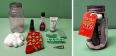 """Create IT:  Mason Jar Gifts!  Create a """"For Your Mistletoes"""" pedicure kit complete with gift tag!"""