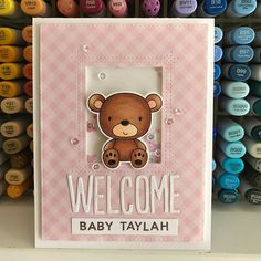 A welcome card for a sweet new baby girl  @mftstamps @thescrapbookstoreau #thedailymarker30day