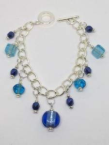 Blue Beaded Charm Bracelet                      – Jewelz Galore