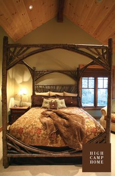 Rustic Canopy Bed #4280 by La Lune Collection - Bedroom by High Camp Home, Truckee, CA