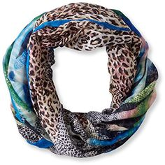 La Fiorentina Women's Animal Abstract Ombre Scarf, Blue, One Size. Ombre. Scarf.