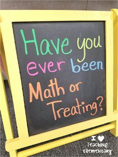 Math or Treating- Learning on Halloween Day - Education Job - Ideas of Education Job - I Heart Teaching Elementary: Math or Treating- Learning on Halloween Day Fun Math, Math Activities, Holiday Activities, Halloween Activities, Halloween Kids, Fifth Grade Math, Fourth Grade, Grade 2 Math Games, Sixth Grade