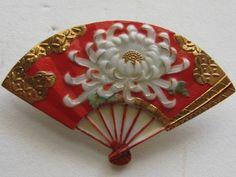 Vintage Japan Toshikane Arita Fan Chrysanthemum Gold Overlay Porcelain Brooch Pin