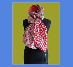 Bohemian Scarf in blend of different fabrics 100% cotton gingham stars ... red, blue and white.  PS CENDRILLON