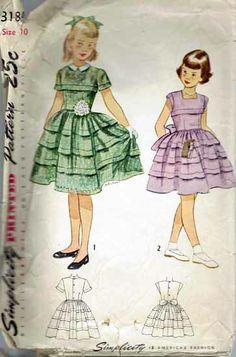 Vintage Sewing Pattern Girls Dress Simplicity #3184 - $25.00 : Vintage Sewing Patterns