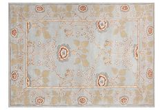 "Bessie Rug, Ice Blue/Natural on OneKingsLane.com ($749 v. $1,820 retail for 8' x 11')  Origin:India  Construction:hand-tufted wool  Pile height:2/5  Color:ice blue/natural/rust  Care:Vacuum regularly. Blot stains immediately. No oxygen cleaners. Periodic professional cleaning rec'd.  ""With their lush designs that range from traditional motifs to dynamic contemporary creations, Jaipur rugs... transform a room. Through the Jaipur Rugs Fdn., the co. is also transforming the lives of its…"