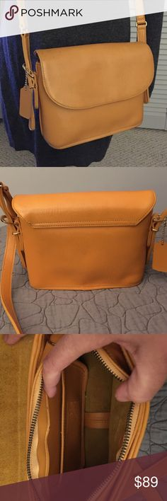 Vintage Coach Yellow Leather Crossbody Great vintage yellow leather Coach crossbody.  This is a beautiful yellow leather high quality leather bag with a flap and zipper closure.  They just don't make them like this anymore.  No major issues with this bag.  **This is a vintage item and is in overall great condition, but as will all vintage items one should expect some wear due to the age of the item.** Coach Bags Crossbody Bags