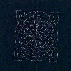 Celtic Knot 3 - a preprinted cotton fabric block for Sashiko stitching.