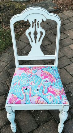 Vintage Chair White w Lilly Pulitzer fabric by CarriageHouseLtd