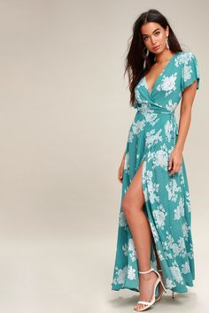 Heart of Marigold Turquoise Floral Print Wrap Maxi Dress 3