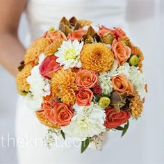 Orange, peach, and salmon colors for a wedding bouquet. Beautiful for a fall wedding which is exactly what I want! Bridal Bouquet Fall, Fall Bouquets, Fall Wedding Flowers, Autumn Wedding, Wedding Colors, Wedding Bouquets, Wedding Ideas, Trendy Wedding, Wedding Inspiration