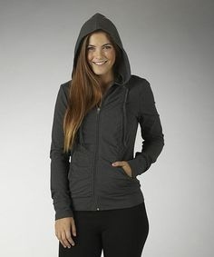Heather Charcoal Secret Slimming Ruched Zip-Up Hoodie - Women