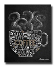 Coffee Art, Coffee Kitchen Art, Chalkboard Sign, Chalk Art, Kitchen Chalkboard, Coffee Lover, Subway Art, Kitchen Print, Kitchen Decor by TheWhiteLime on Etsy https://www.etsy.com/listing/189630431/coffee-art-coffee-kitchen-art-chalkboard