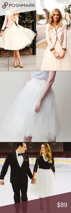 "Alexandra Greco Ivory Gretta Tulle Skirt Gorgeous skirt worn for engagement photos & freshly dry cleaned! Size 4 (28""). Skirt is 30"" long. The Gretta Tulle Skirt is made with multiple layers of tulle layered to create the perfect shape. This skirt is fully lined with a center back invisible zipper.  The silk taffeta waistband is non-stretch and has a hook and eye closure. Tagged Anthro for exposure but purchased directly from Alexandra Grecco website.   100% nylon tulle & 100% silk waistband…"