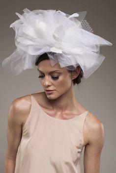CARLISLE – White Tulle & Feathers bridal headband. Cocktail & wedding headpiece. $195 http://www.thefeatheredhead.com/products/carlisle