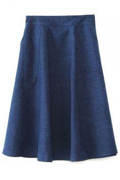 Zip Side Midi A-Line Denim Skirt
