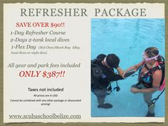 Haven't dived for six months or longer? Then here is a package for you and your family. #scubaschoolbelize #Belize #ambergriscaye #scubadiving #thegreatbluehole #padi