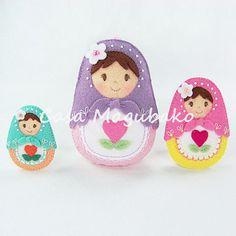 Matryoshka Doll Digital Pattern - PDF File - DIY Ornament or Embellishment