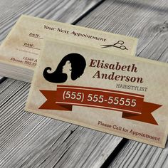 Hair Stylist - Vintage Call for Appointment Card Business Card Template. You can customize this card with your own text, logo, photo, or use this pre-existing template for FREE.